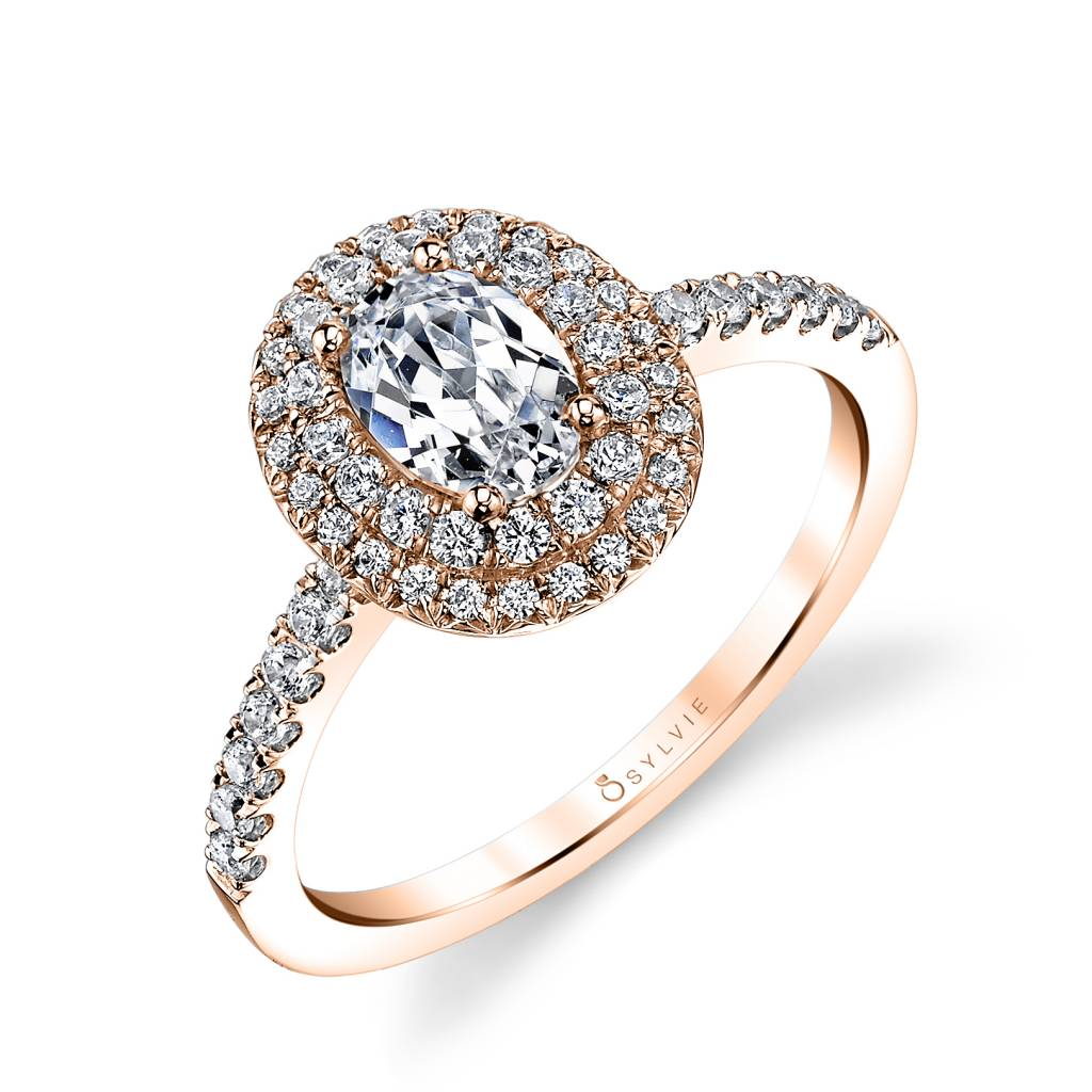 oval double halo rose gold engagement ring