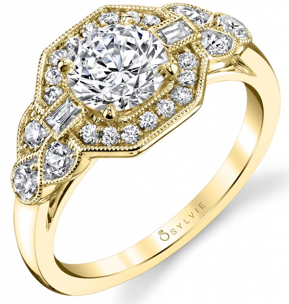 yellow gold vintage inspired engagement ring