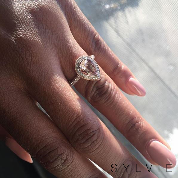 pear shaped engagement ring with morganite