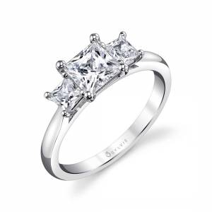 3 stone engagement ring profile view