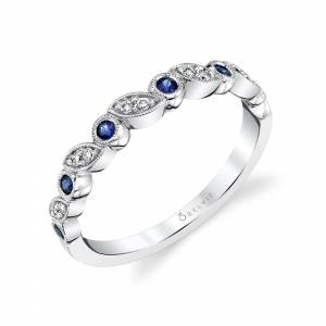 Blue Sapphire Gemstone Wedding Band