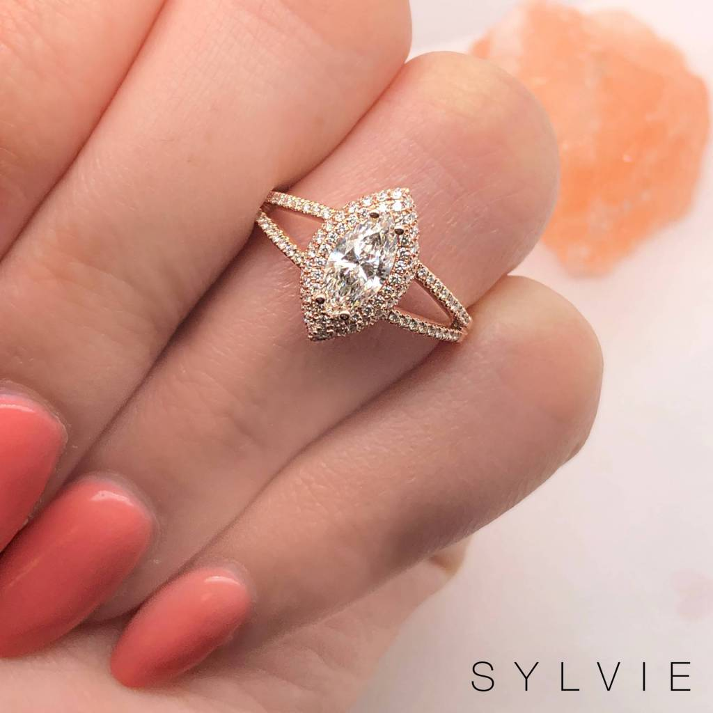 marquise shaped split shank engagement ring