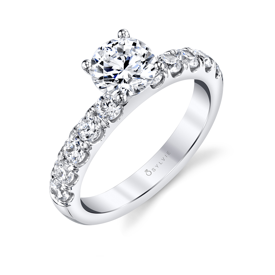 side view of a classic engagement ring with thick band
