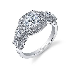 Profile Image of a Vintage Inspired 5 Stone Engagement Ring