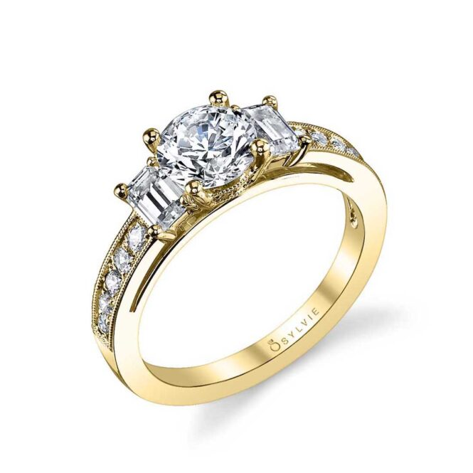 Three Stone Engagement Ring with Emerald Cut Side Stones