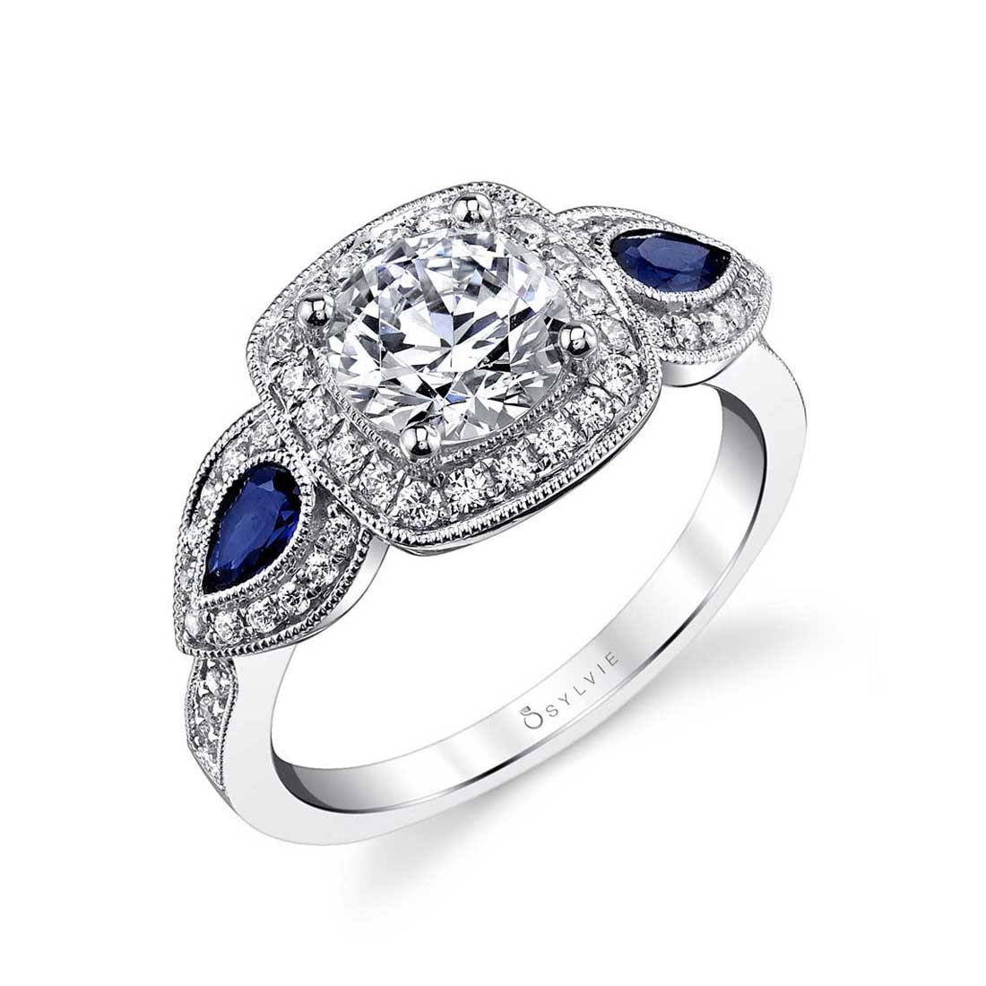 Three Stone Engagement Ring with Halo