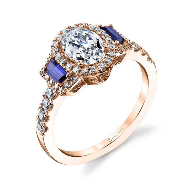 3 Stone Engagement Ring with Sapphires