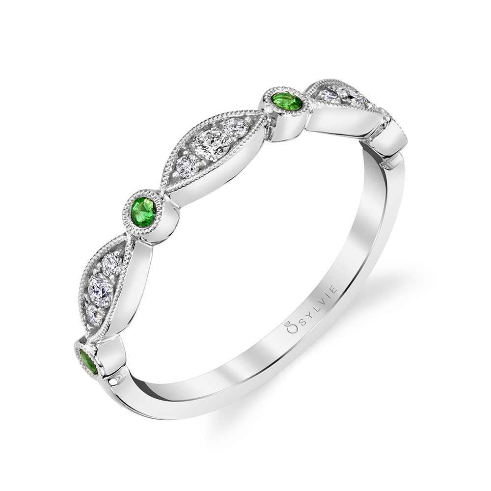 B0011 - diamond and emerald stackable bands