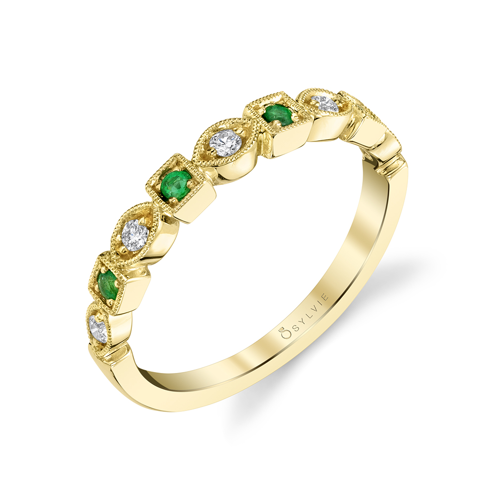 B0017 - Diamond and emerald stackable bands