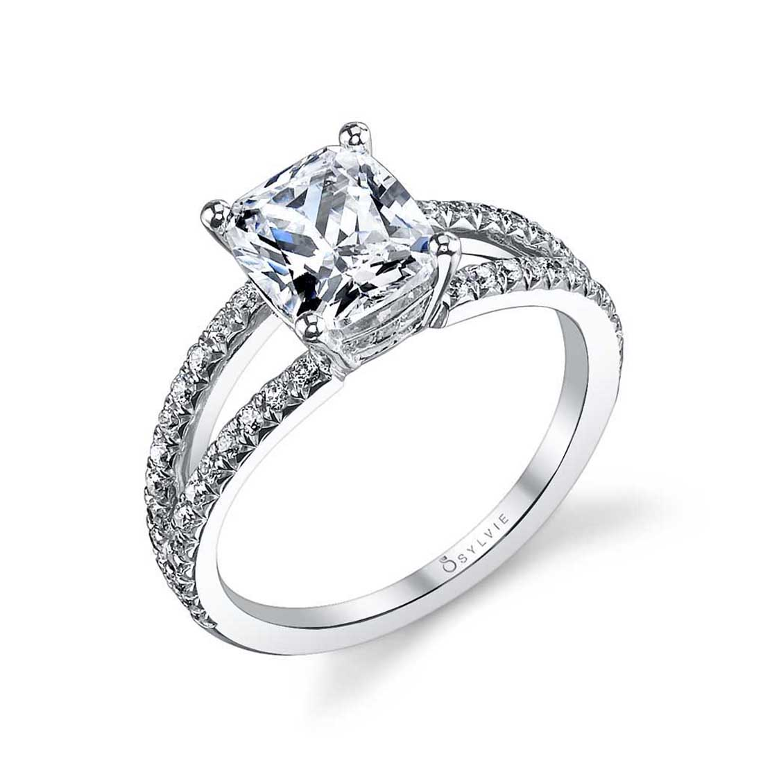 Cushion Cut Engagement Ring with split shank