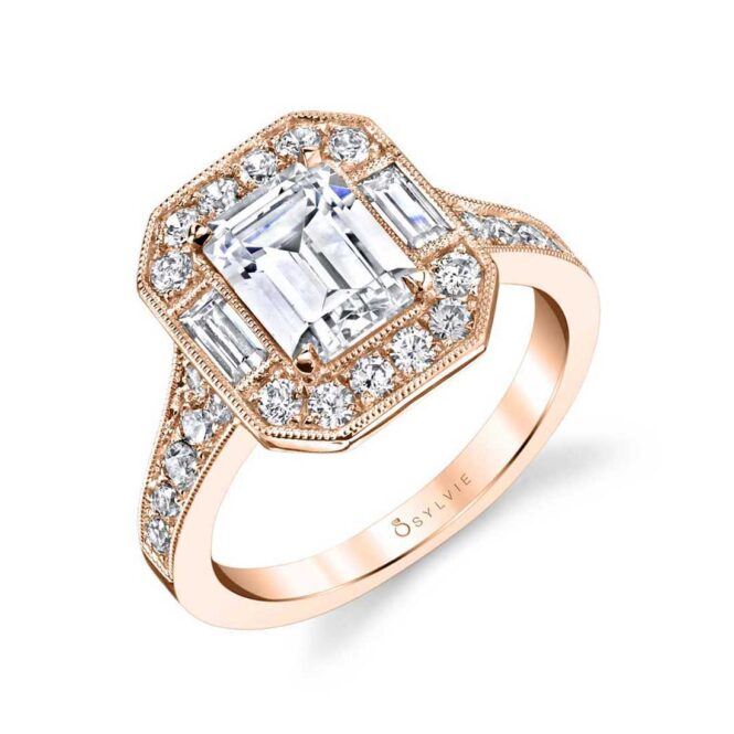 Vintage Inspired Emerald Cut Engagement Ring