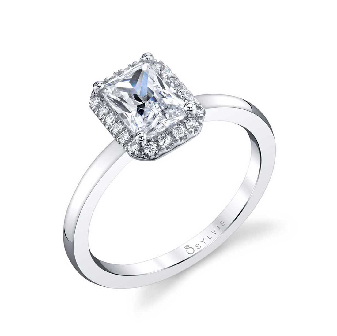 East West Marquise Engagement Ring with Halo Sylvie-SY980-Profile