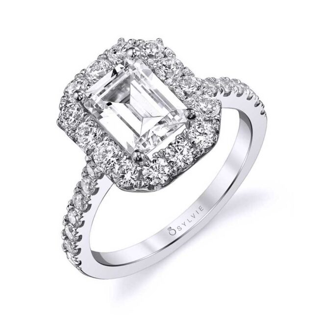 Emerald Cut Engagement Ring with halo