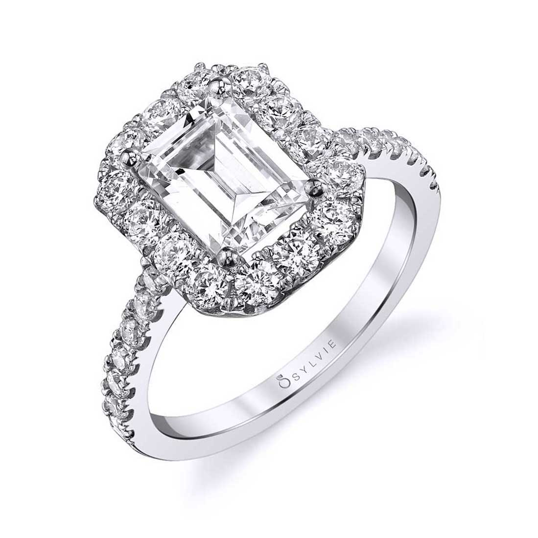 Profile Image of an Emerald Cut Engagement Ring with halo