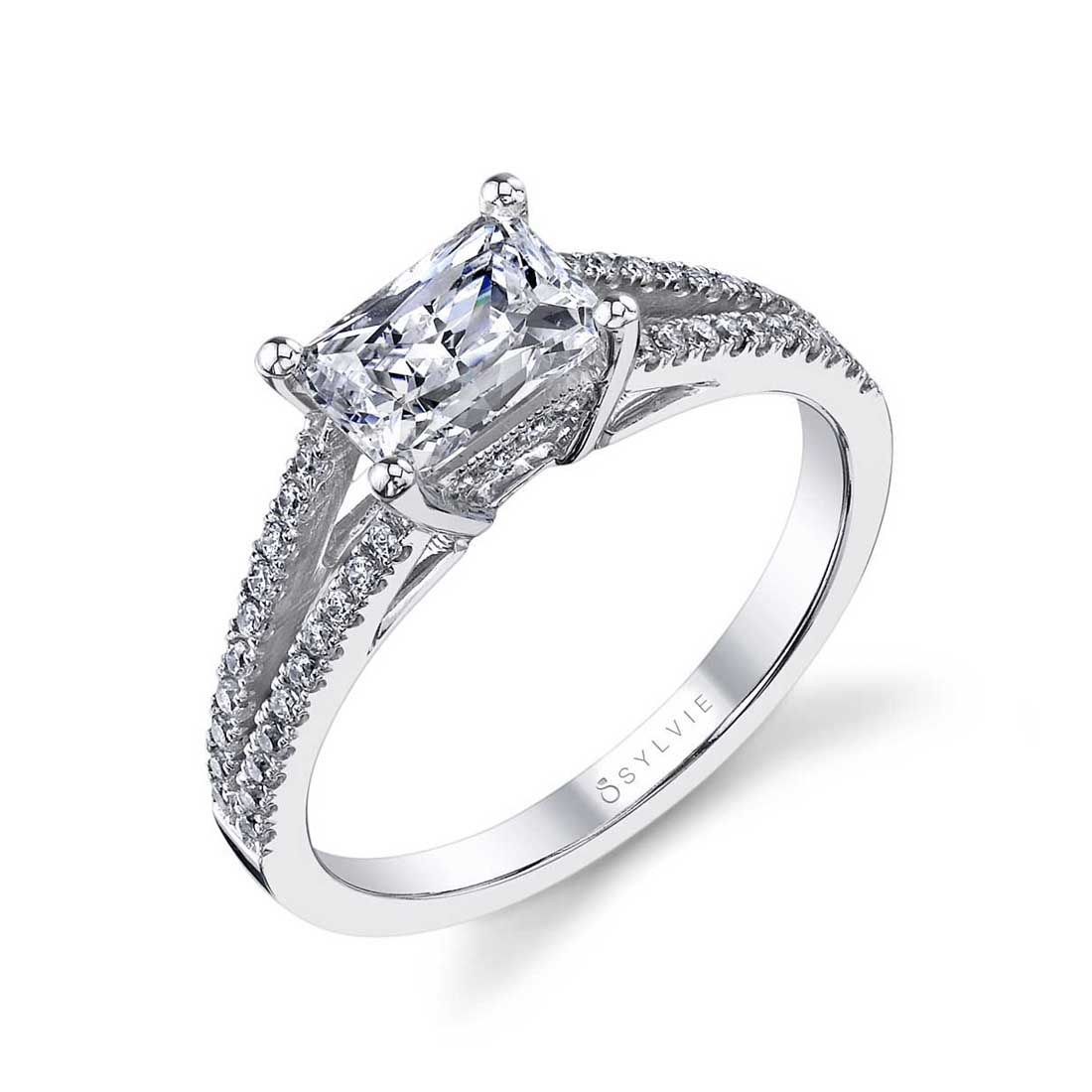 Monique - East West Emerald Engagement Ring with Split Shank