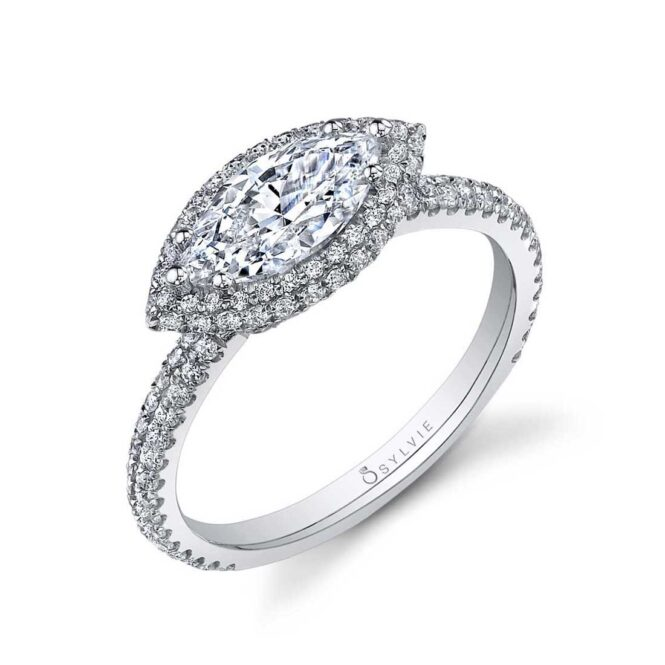 East West Marquise Shaped Halo Engagement Ring