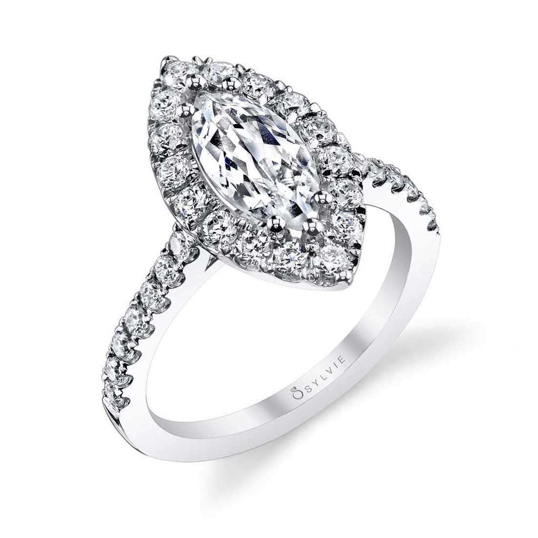 Marquise Cut Engagement Ring with halo