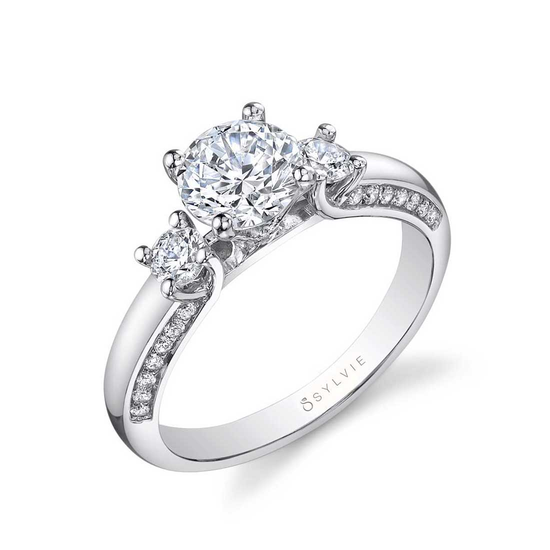 3 Stone Engagement Ring with Halo