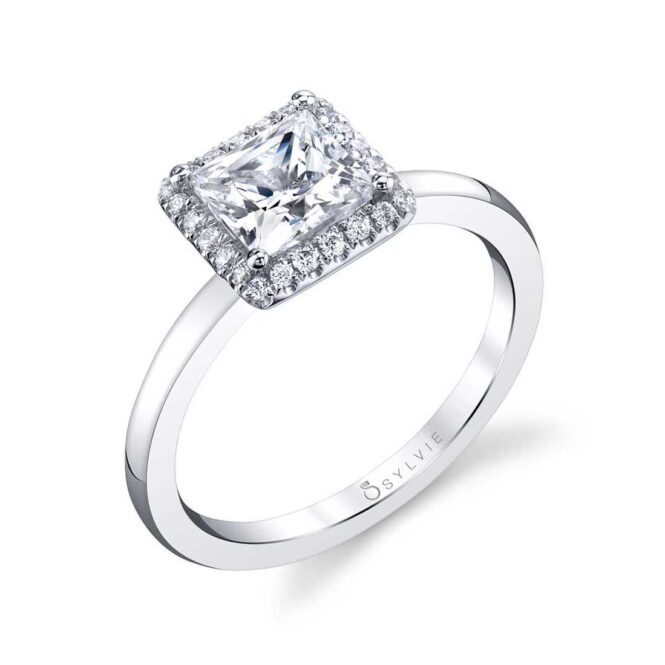 Modern Princess Cut Engagement Ring with Halo