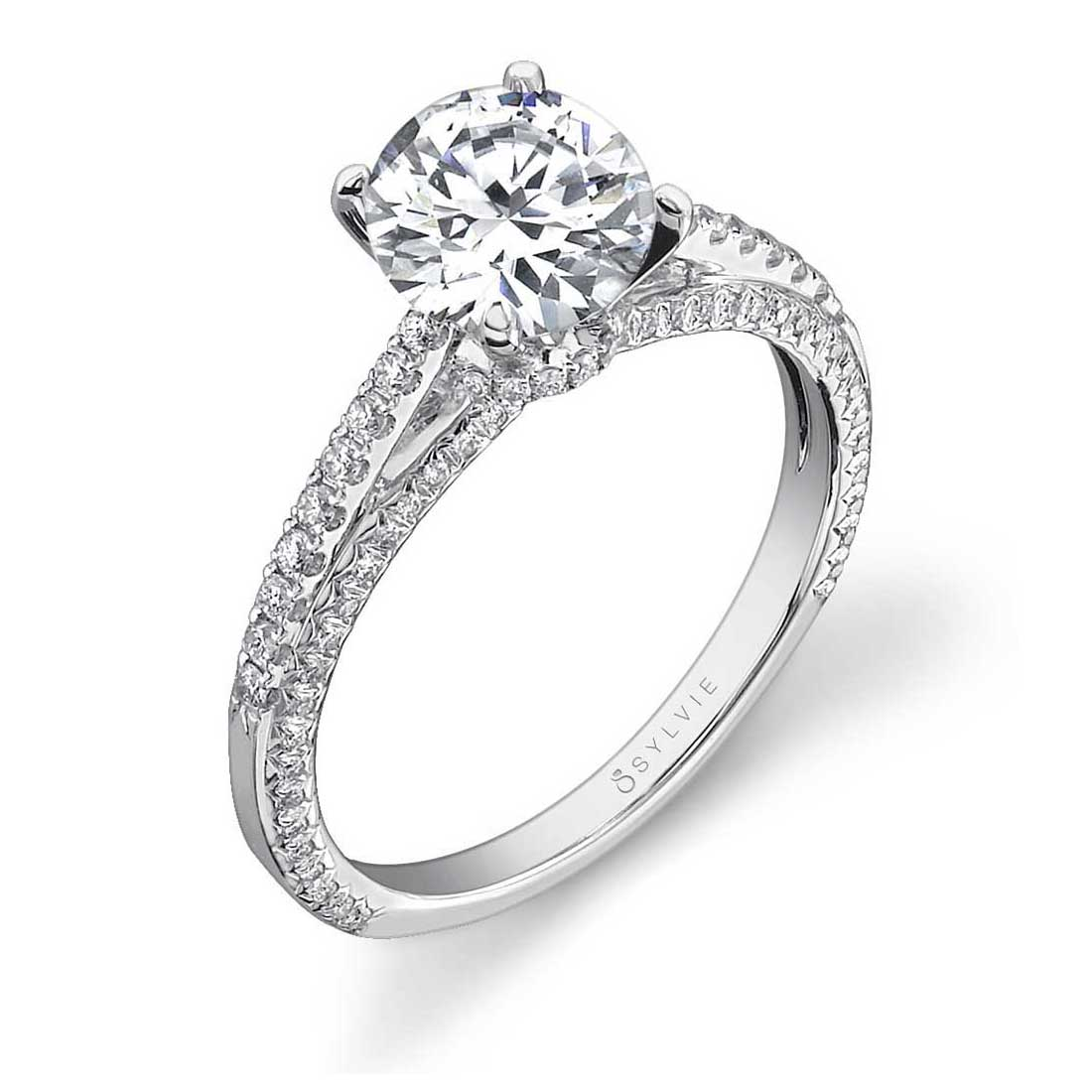 Pave Solitaire Engagement Ring