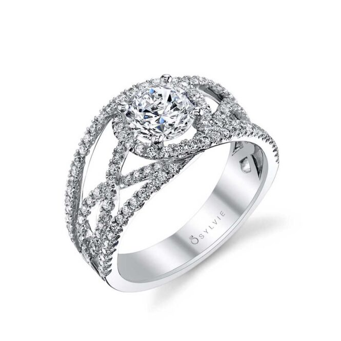 Modern Spiral Engagement Ring with Split Shank