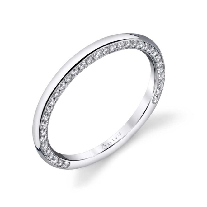 Modern Wedding Band in White Gold - BS1701