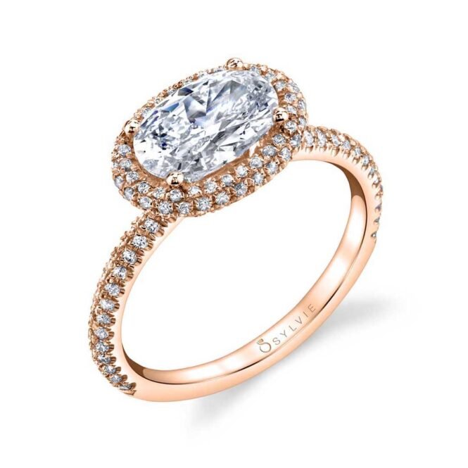 Oval Shaped East West Halo Engagement Ring