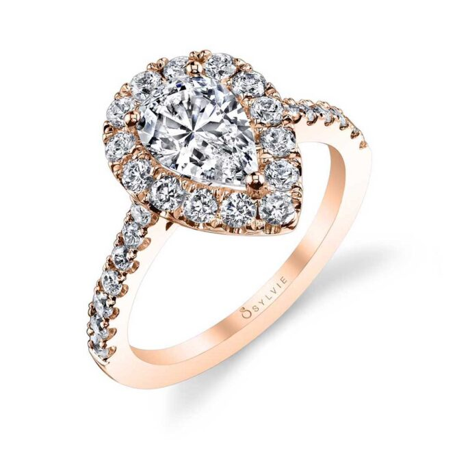 Pear Shaped Engagement Ring with Halo