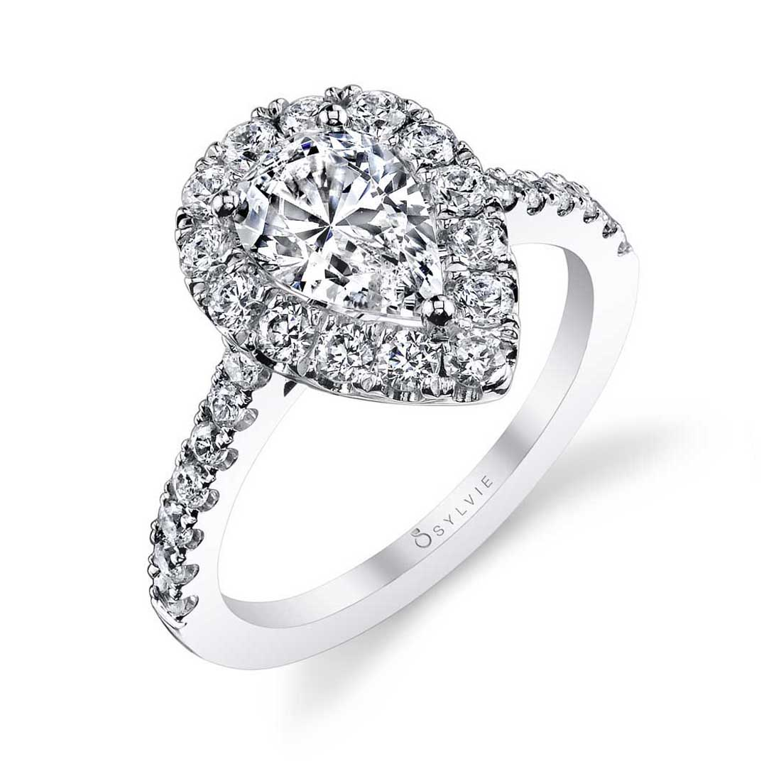 Profile Image of a Pear Shaped Engagement Ring with Halo