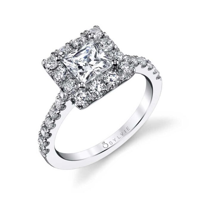 Princess Cut Engagement Ring With Halo