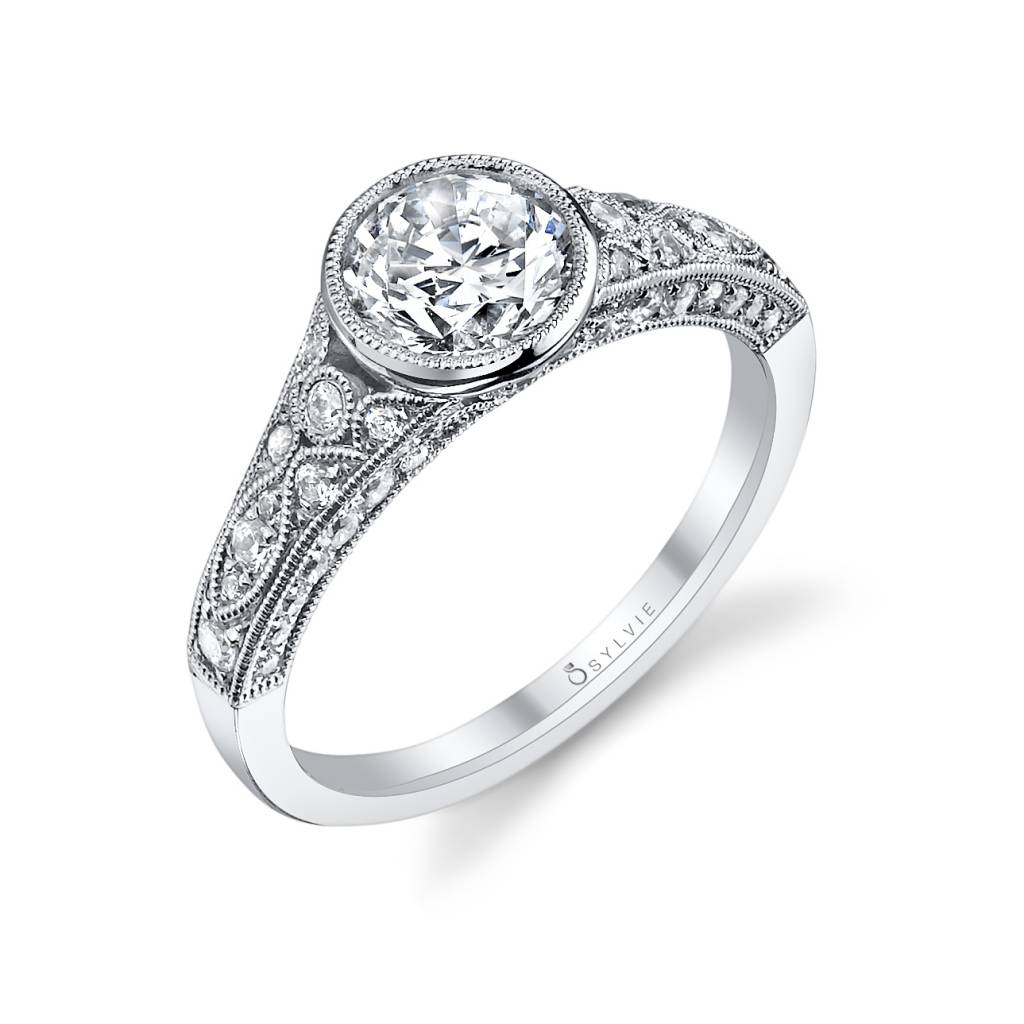 bezel set vintage engagement ring