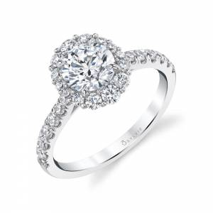 White Gold Halo Engagement Ring S1848