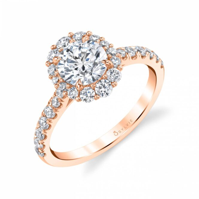 Rose Gold Halo Engagement Ring S1848