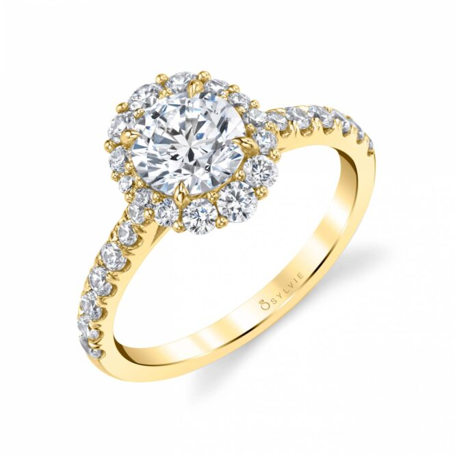 Yellow Gold Halo Engagement Ring S1848