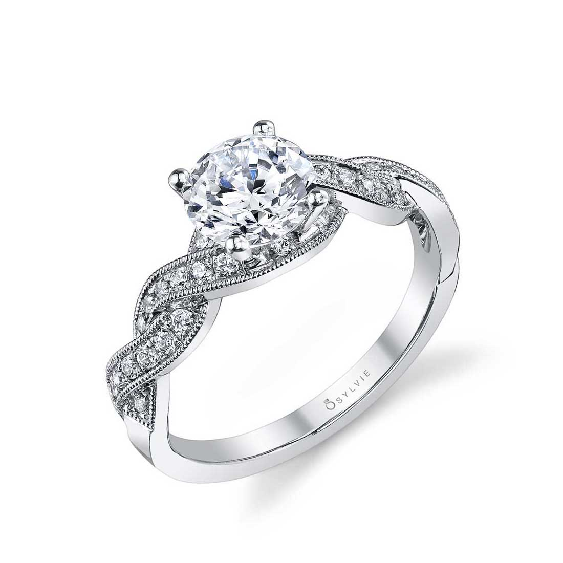Unique High Polish Spiral Engagement Ring
