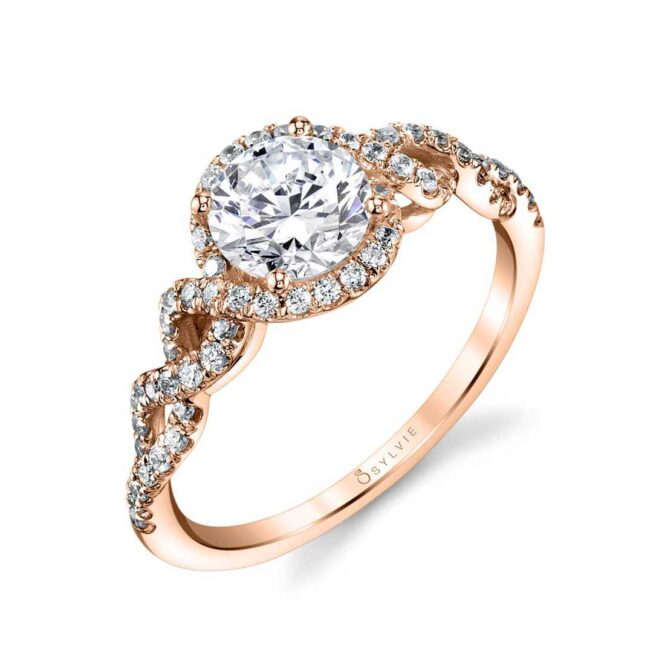 Spiral Engagement Ring with Halo