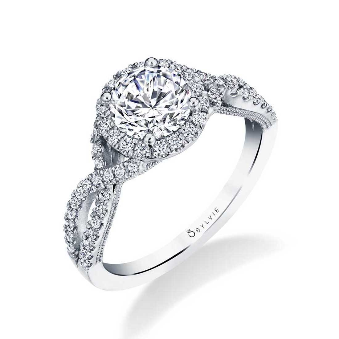 Split Shank Engagement Ring with Halo