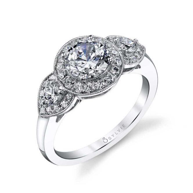 Vintage Three Stone Engagement Ring with Halo
