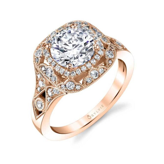 Vintage Inspired Double Halo Engagement Ring