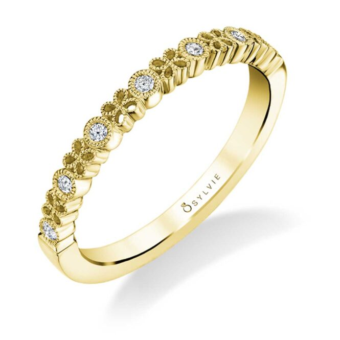 Yellow Gold Flower Wedding Band