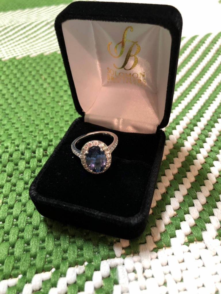 blue sapphire oval engagement ring