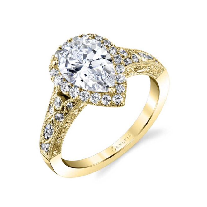 Pear Shaped Halo Engagement Ring