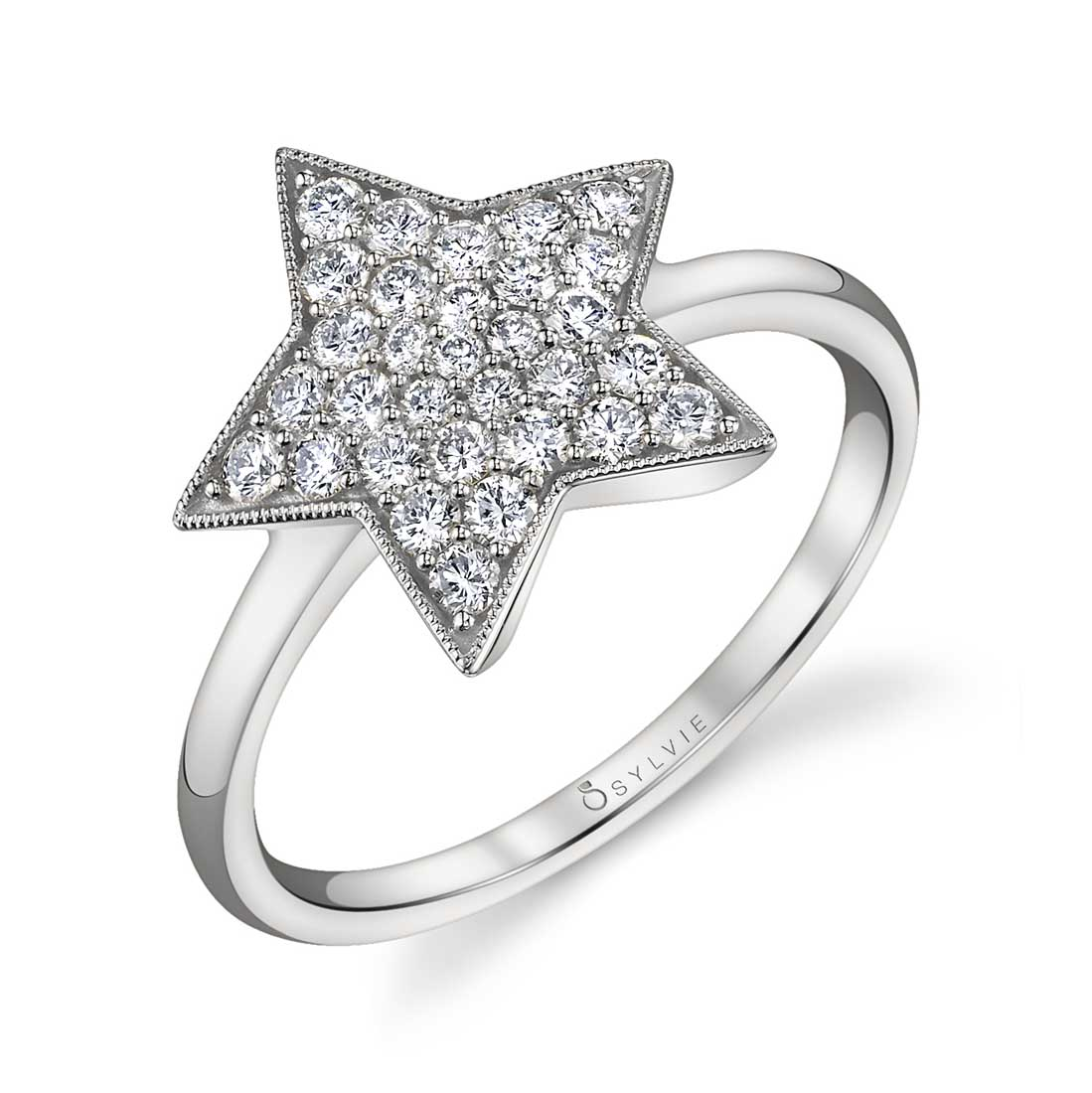 White Gold Diamond Star Ring FR820