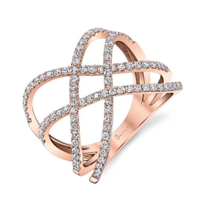 Free Form Diamond Ring in Rose Gold