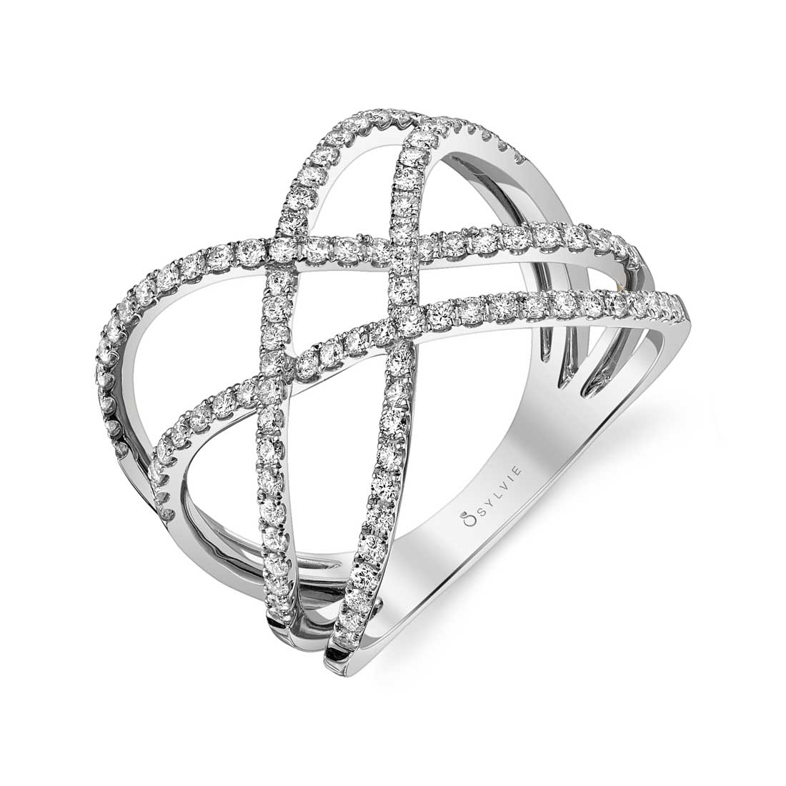 Free Form Diamond Ring in White Gold