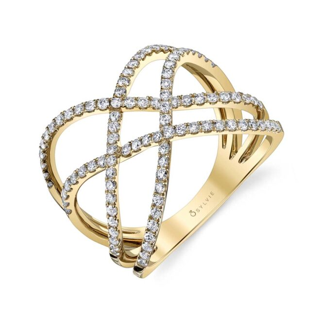 Free Form Diamond Ring in Yellow Gold