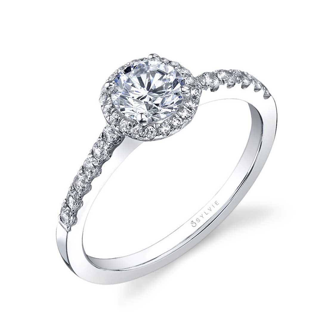 Flower Engagement Ring with Halo