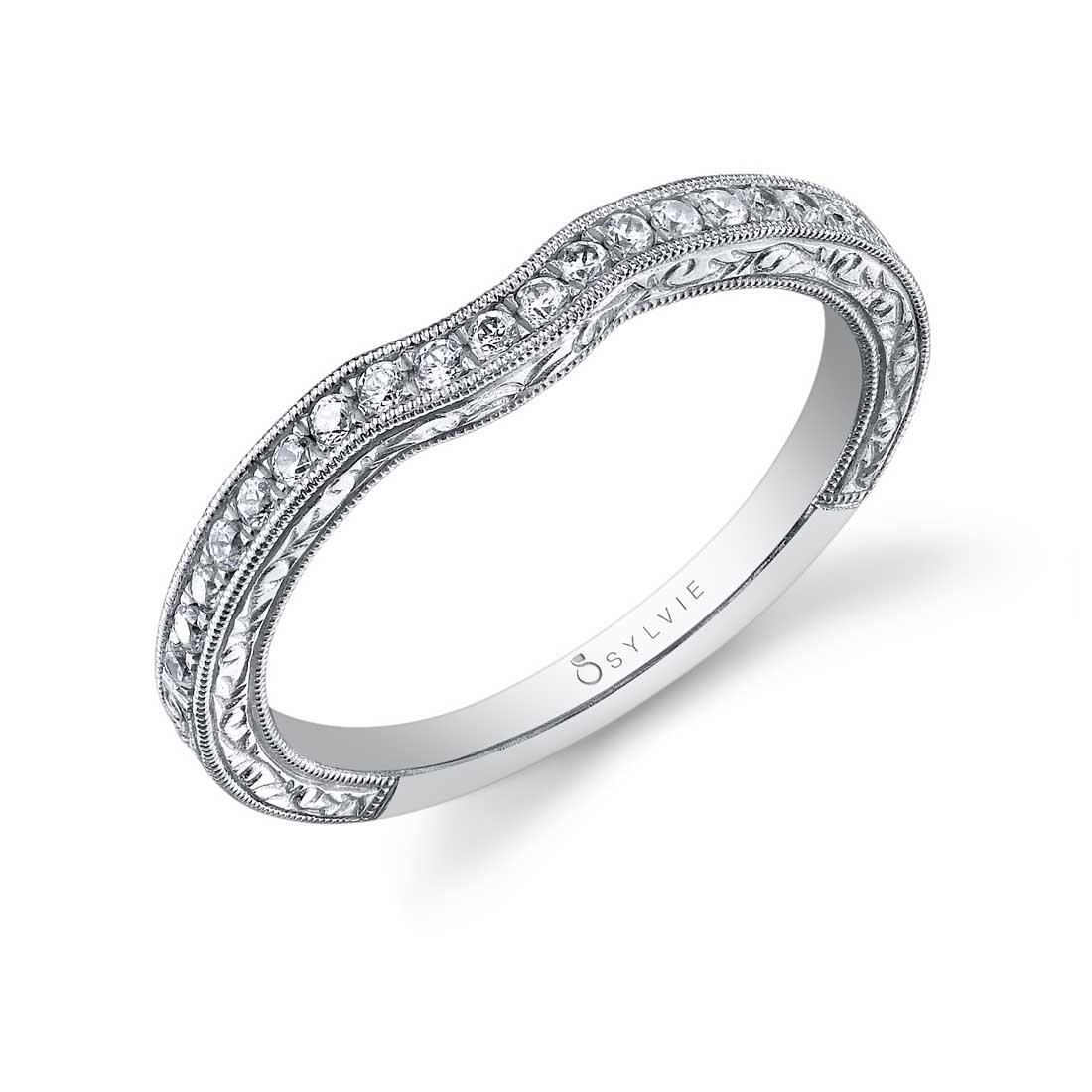 Profile Image of a Round Hand Engraved Engagement Ring