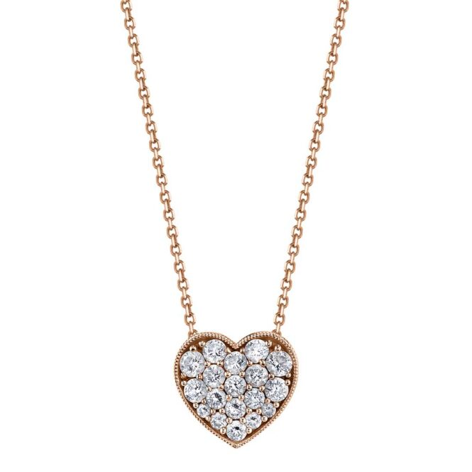 Heart-Shaped Diamond Necklace in Rose Gold
