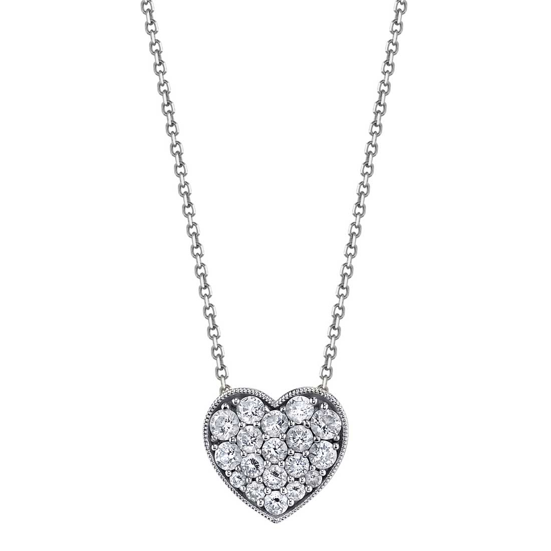 Heart-Shaped Diamond Necklace in White Gold